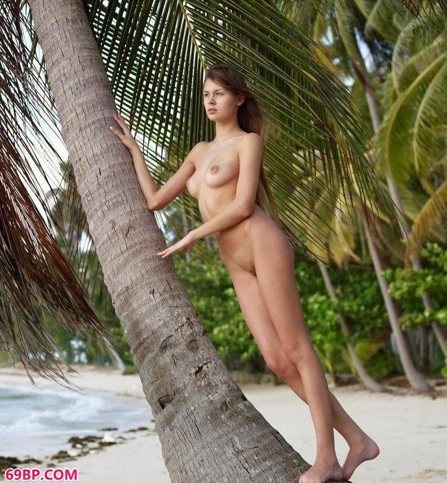 泰国美模emily海边椰子树下的性感人体